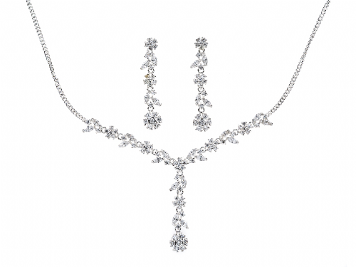 Camille Cubic Zirconia Crystal Necklace and Earring Set, Wedding Necklace and Earrings